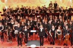 Das Sinfonieorchester der Universität Hohenheim und das Orchestre Universitaire de Strassbourg anlässlich eines gemeinsamen Konzerts 2016 im Hospitalhof Stuttgart